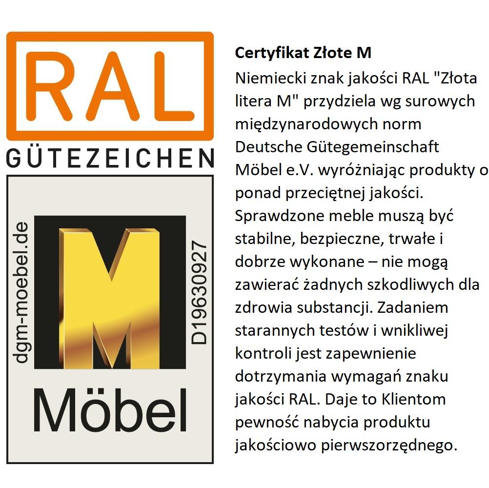 Certyfikat Nobilia złota litera M